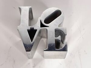 "Vintage Robert Indiana 3-1/8"" LOVE aluminum Sculpture Paperweight"