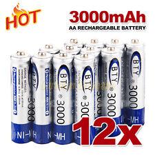 12 pcs AA Rechargeable batteries Bulk Nickel Hydride NI-MH 3000mAh Battery 1.2V