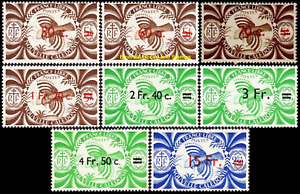 EBS New Caledonia 1945 - France Libre - Kagu Overprints - NC 249-256 MNH*