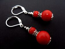 A PAIR OF RED CORAL  SILVER  PLATED DROP DANGLY LEVERBACK HOOK  EARRINGS. NEW.