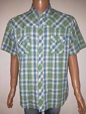 Wrangler Men's Western Shirt Green Blue Plaid Short Sleeve Pearl Snaps Size XL