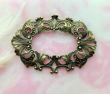 ANTIQUE BRASS Large Oval Scroll Filigree Ornate Frame Stamping Finding (C-1001)