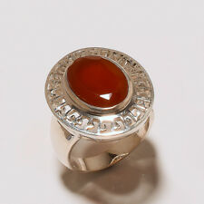 """Awesome Red Chalcedony Gemstone Handmade 925 Sterling Silver Ring Size """"8.00"""""""