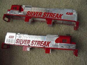 Lot of 2 Vintage HO Scale UP Silver Streak Locomotive Shells Bodies 4301