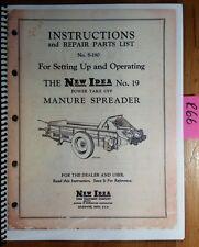 New Idea 19 Manure Spreader Setting Up & Operator & Parts Manual S-180 8/57