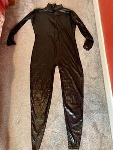 Shiny black Lycra zentai skinsuit size M