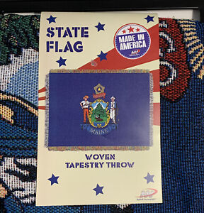 "Maine State Flag Throw Blanket Woven Tapestry 46""x60"" Made In America Northwest"
