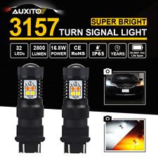 2x 3157/3156 Amber/White Switchback Turn Signal Light 3030 SMD 16pcs LED Bulb AU