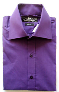 Men's Plain Shirt Purple Slim Fit Long Sleeve Sizes: S, M, XL Claudio Lugli