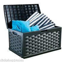 Kissenbox Sitzauflagenbox 117x56x56cm Rattan Schwarz Gartenbox Aufbewahrung Box