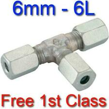 6L EQUAL TEE HYDRAULIC COMPRESSION FITTING/COUPLING TUBE PIPE JOINER 6mm