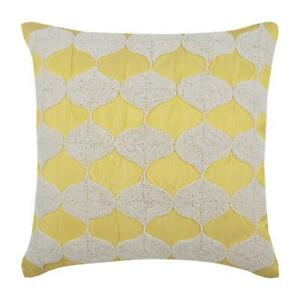 "Yellow 22""x22"" Sofa Pillowcase Handmade, Silk Moroccan - Sunsight"