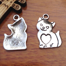 50 pieces 22mm Heart Cat Pendant Charms Tibetan Silver DIY Jewelry Lover A7555