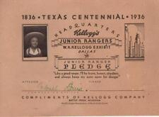"""1936 Texas Centennial Junior Ranger Certificate Kellogg's Cowgirl Photo 10""""Wx7""""L"""