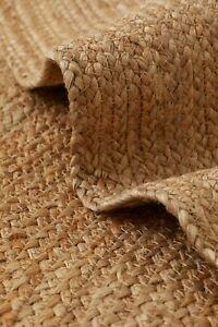 Rug Round 100% Natural Jute Braided Style Reversible Carpet Home Decor H&M 110cm