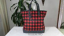 NWT Coach Mercer in Printed Nylon & Leather Tote Bag F71758 Red / Houndstooth