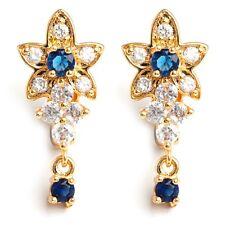 Lovely 24K Gold Filled Blue Clear C.Z Women's Hoop Earrings Gift Box Packing