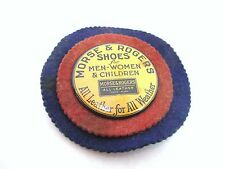 Early Antique Morse & Rogers Shoes Felt Pen Wipe Celluloid Button Advertising