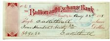 1888 Carson City, Nevada. Bullion & Exchange Bank Check.