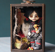 "OOAK ""Creepy Girl"" assemblage polymer clay sculpture art box."