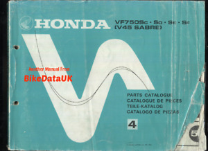 Honda VF750S Sports V45 Sabre (82-85) Parts List Catalog Manual Book VF 750 CL65