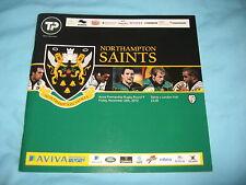 NORTHAMPTON SAINTS LONDON IRISH RUGBY PREMIERSHIP MATCH PROGRAMME NOV 26th  2010