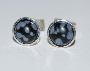 Snowflake Obsidian 6mm Cabochon Gemstones In Sterling Silver Bezel Ear Studs.