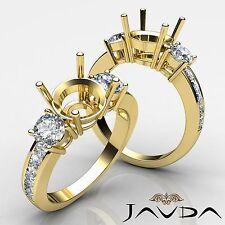 3 Stone Natural Diamond Wedding Unique Ring Round Semi Mount 18k Yellow Gold 1Ct