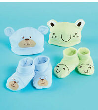 NEWBORN INFANT to 12 mos. 4 pc. ANIMAL HAT AND BOOTIE SETS
