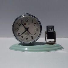 Vintage Art Deco Mint Green Golden Cock China Alarm Clock w/ Flip Day of Week