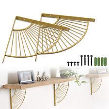 2x Heavy-duty Fan-shaped Shelf Brackets Household Decoration Gold Racks Screws