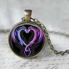 Dragon Entwining Heart Necklace, 30mm Pendant Charm Cabochon Bronze Jewellery