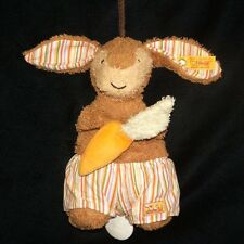 Steiff Brown Musical Bunny Rabbit Pull String 231179 Plush Stripe Shorts Carrot
