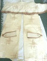 "Lined Curtina Curtains Cream Oriental Theme Tie Backs Pelmet Trim 54"" x 64"" Each"