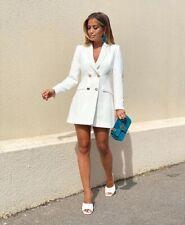 Zara Oyster White Frock Coat Blazer Dress Gold Buttons Size S