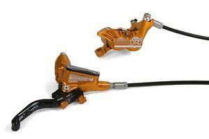 Hope Tech3 V4 Brakes Front & Rear UK Spec Orange With Black Hoses. New, Boxed
