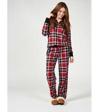 da6354c52823 Red / Black Carole Hochman Honeycomb Fleece Henley 2 pc Pyjama set - small  & New