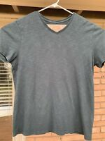 VINCE Tee Shirt Men's Cotton 100% Cotton Black Gray Short Sleeve V Neck Sz L