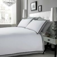 EGYPTIAN COTTON 200TC MF WHITE BLACK GREY DUVET COVER SET DOUBLE KING SUPER KING