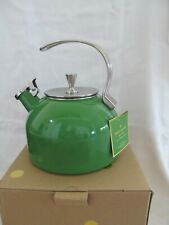 Kate Spade Whistling Tea Kettle Green Enamel Stainless All In Good Taste 2.5 Qt