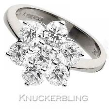 Diamond Daisy Engagement Ring 3.00ct Certified F VS Brilliant in 18ct White Gold