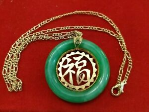 Beautiful Goldtone And Jadeite Pendant On Chain Chinese Blessing