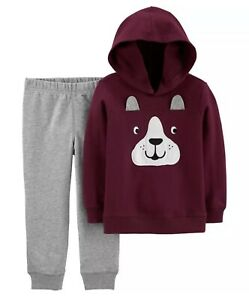 Carter's Toddler 2-Piece Maroon Dog Face Pullover Hoodie & Joggers Set, 12M