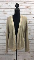Zen Cashmere Women Size L Colorblock Beige/Navy Cardigan Sweater D6-30