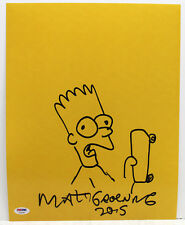 MATT GROENING SIGNED AUTOGRAPHED 11X14 HAND DRAWN SKETCH BART SIMPSON PSA/DNA