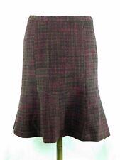 Jones NY Womens Size 4 Skirt 100% Wool Burgundy, Green Flared Bottom Lined Warm