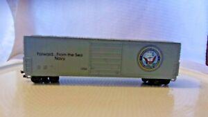 HO Scale Life-Like 50' Box Car, DOD U.S. Navy, Gray, #1996