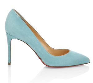 Christian Louboutin Pigalle Follies 85 Noumea Blue Suede Pointed Heel Pump 41.5
