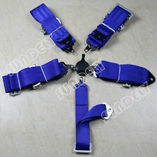 """SUNDELY SPORTS RACING HARNESS SEAT BELT 3"""" 4 5 POINT FIXING BLUE QUICK RELEASE"""