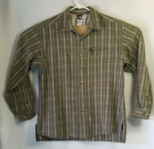 THE NORTH FACE Men's Long Sleeve Button Down Flannel Shirt, Green Plaid Medium